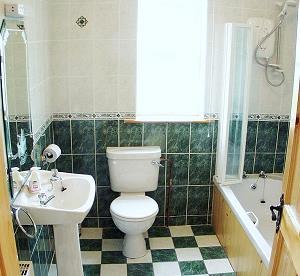 Salle de bains principale avec douche sur la baignoire